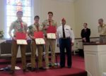 Gus Cales presented MCL certificates at the March 5th Court of Honor to 3 Troop 10 Eagle Scouts: (L-R) Cooper Pandorf, Daniel Rottenborn and Rex Berger.